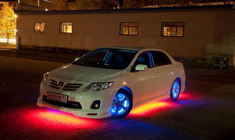Яркая подсветка днища автомобиля