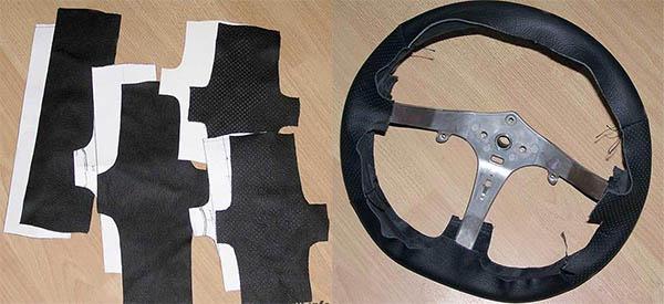 Выкройка кожи для обтяжки руля