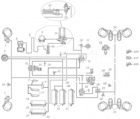 кран ручника камаз: устройство, подключение, схема